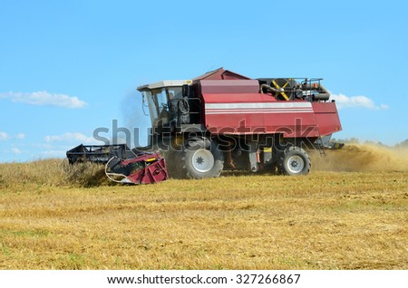 Red combine harvesting in a field of wheat - stock photo