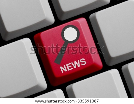 Red Computer Keyboard with symbol of magnifier with News - stock photo