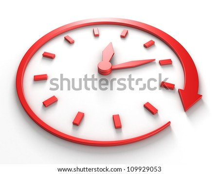 red concept clock dial with around arrow - stock photo