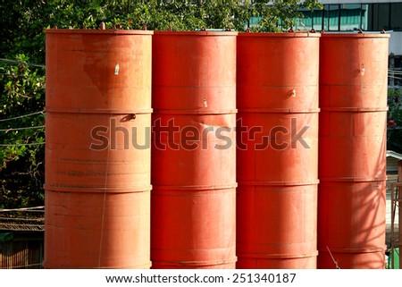Red concrete tank - stock photo