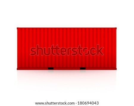 Red container.Isolated on white.3d rendered. - stock photo