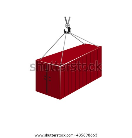 Red Container with Crane Isolated on White,  Container Hanging on Crane Hook - stock photo