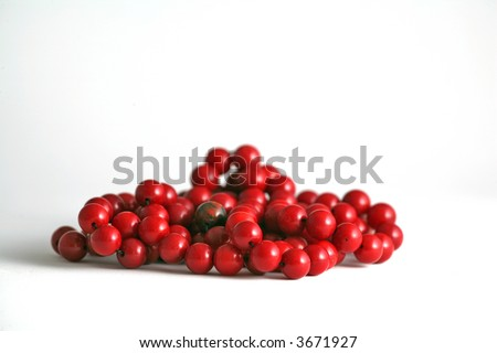 red coral beads - stock photo