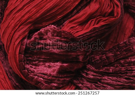 Red cotton as abstract background. - stock photo