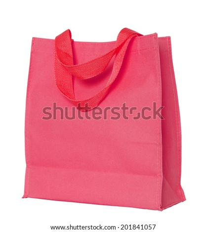 red cotton bag isolated on white with clipping path - stock photo