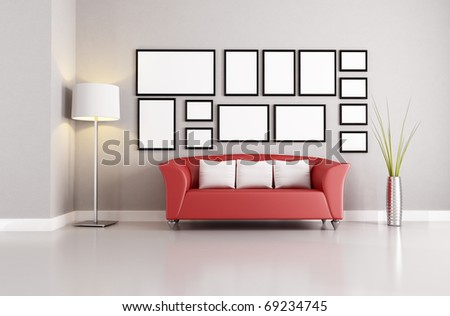 red couch in a minimalist living room - rendering - stock photo