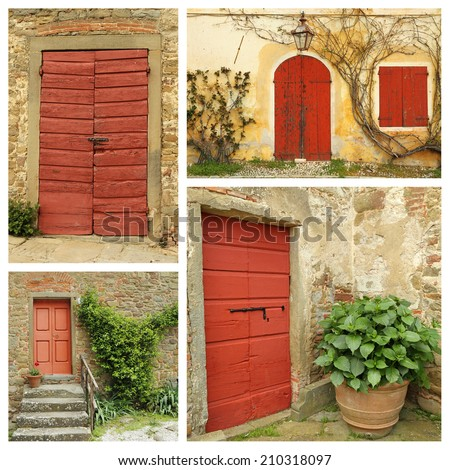 red country doors collage , Italy - stock photo