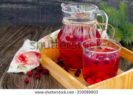 Red cranberry fruit drink, a pitcher and a glass. - stock photo