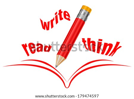 Red crayon and opened book, symbol for intelligence, brainstorming and education - stock photo