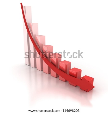Red Crisis Business Graph with Falling Arrow - stock photo
