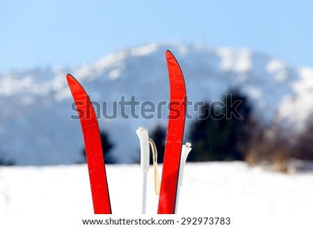 red cross country skiing in winter - stock photo