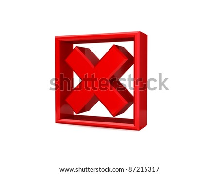 Red cross mark icon. 3d rendered. isolated on white background. - stock photo