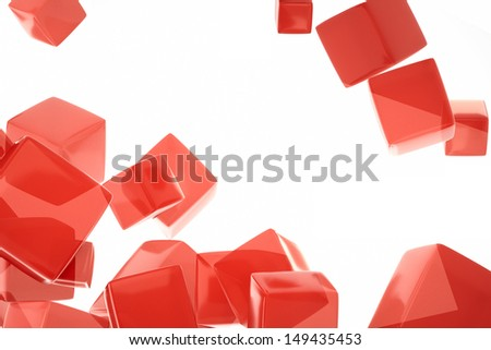 red cube and grey background - stock photo