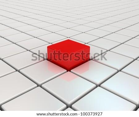 Red cube. Concept of Unique. - stock photo