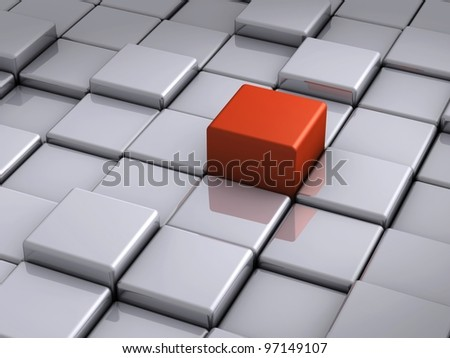 Red cube outstanding on chrome blocks closeup - stock photo