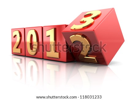 Red cubes with number of beginning new year - stock photo