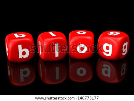 Red cubes with the white text  Blog. - stock photo