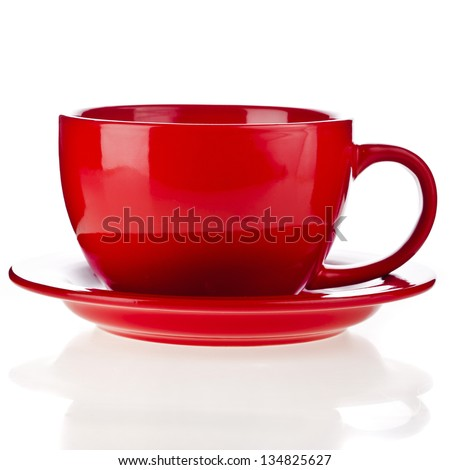 Red cup isolated over white background - stock photo