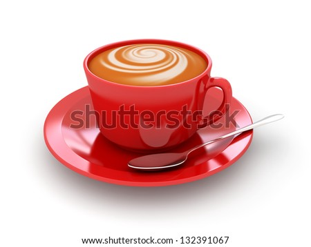 Red cup of cappucino on a white background. 3d rendered image - stock photo