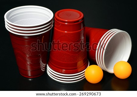 Red Cups for beer pong - stock photo