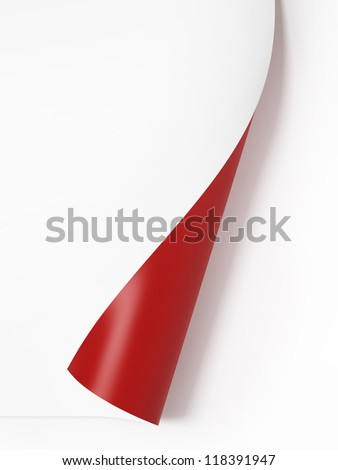 Red curled corner - stock photo