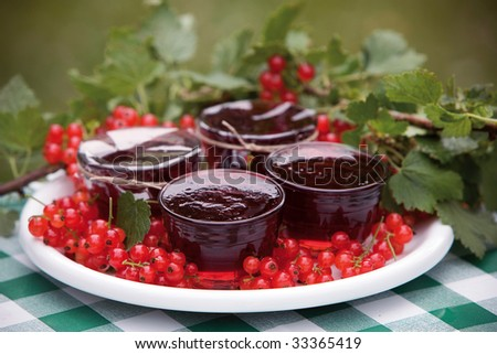Red currant jam - stock photo