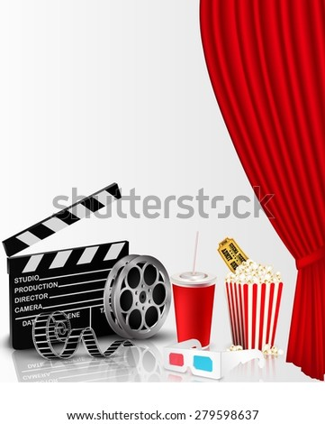 Red curtain and film object with popcorn, soda, ticket and eyeglasses - stock photo