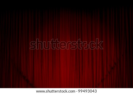 Red curtain at the theatre - stock photo
