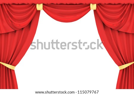 red curtain in 3D on white background - stock photo