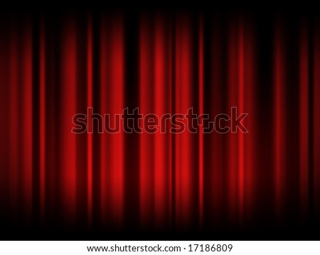 Red curtain in theatre - stock photo