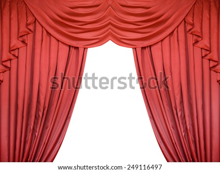Red curtain isolated on white background. - stock photo