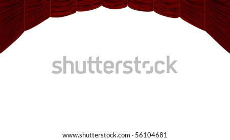 Red Curtain isolated over white. Beautiful textile pattern. Extralarge resolution - stock photo
