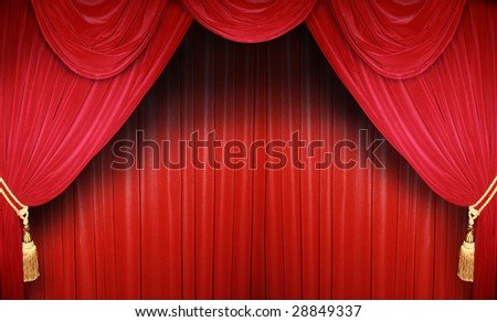 red curtain of a classical theatre - stock photo