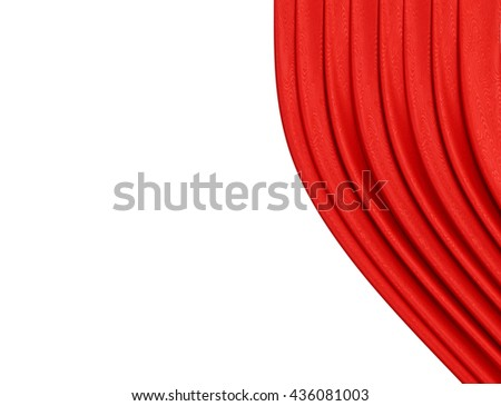 Red Curtain On Theater Or Cinema Stage Slightly Open Over White Background - stock photo