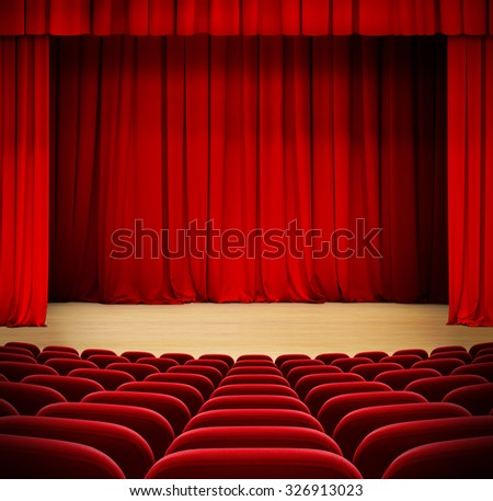 red curtain on theater wood stage with red velvet seats - stock photo