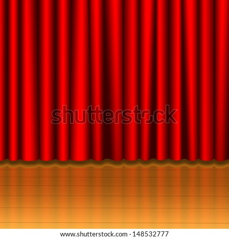 Red curtain on wood stage  - stock photo