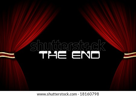 Red curtains and text in cinema or theater - stock photo
