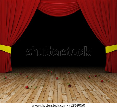 red curtains opening - stock photo