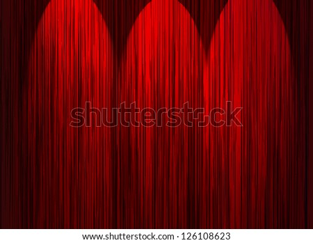 red curtains with light - stock photo