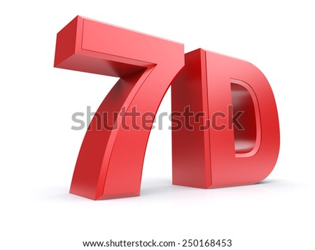 Red 3d cinema 7D. Isolated on a white background. 3d image - stock photo