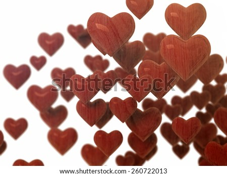 Red 3d hearts isolated on white background  - stock photo