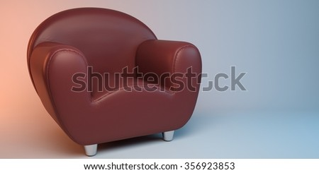 red 3D leather armchair - stock photo