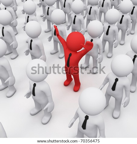 red 3D man among crowd of white 3D fellows - stock photo