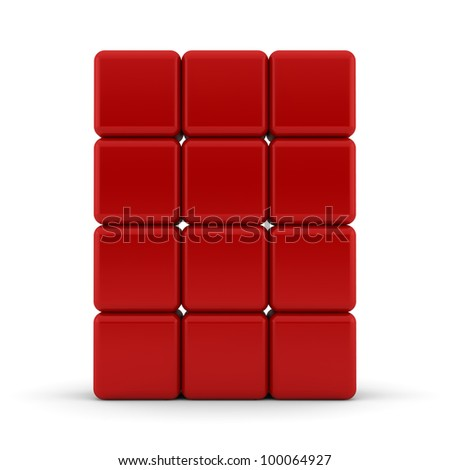 Red 3D rounded cubes isolated on white - abstract background - stock photo