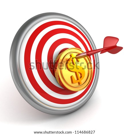 Red dart hit the center of dartboard with golden dollar coin - stock photo