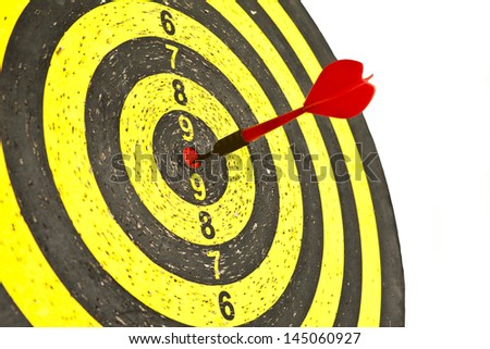 Red dart on the Target Close-up - stock photo