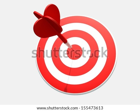 Red dart target. 3D render - stock photo