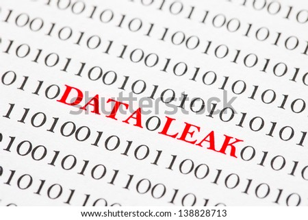 Red Data Leak Text On Binary Code. - stock photo