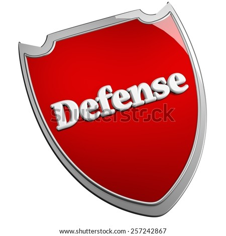 Red Defense shield, isolated over white, 3d render - stock photo