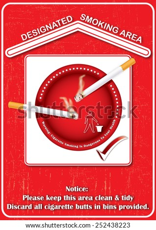Red Designated smoking area - printable sticker, containing a realistic lighting cigarettes on a red ashtray. Print colors used;  - stock photo